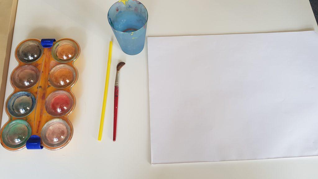 Wasserfarben, Pinsel, Blatt
