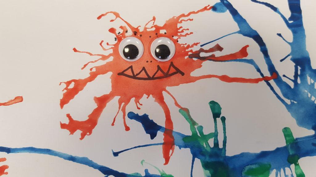 Mundmotorik, Pustespiel, Wasserfarben, Monster